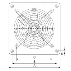 HCFT/4-250/H 0.06kW Аксиален вентилатор за стенен монтаж